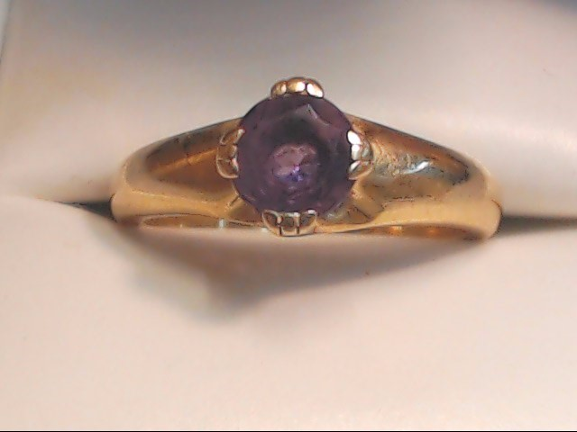 Purple Stone Lady's Stone Ring 14K Yellow Gold 4.1g Size:5.8