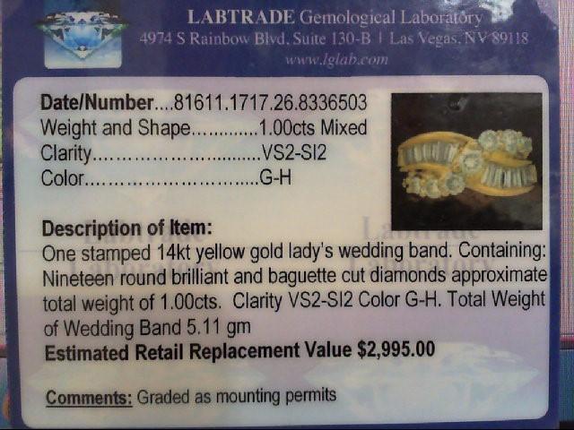 Lady's Diamond Wedding Band 19 Diamonds 1.14 Carat T.W. 14K Yellow Gold 5.11g