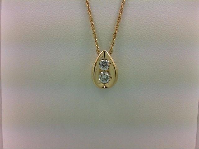 Gold-Multi-Diamond Pendant 2 Diamonds 0.35 Carat T.W. 14K Yellow Gold 1.7g
