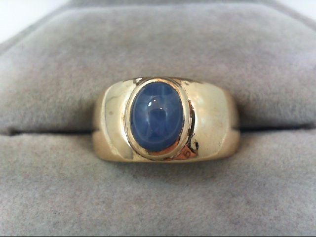 Synthetic Star Sapphire Gent's Stone Ring 14K Yellow Gold 6g
