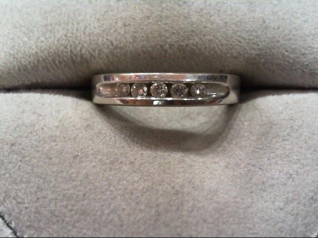 Lady's Diamond Wedding Band 5 Diamonds .20 Carat T.W. 14K White Gold 3.4g