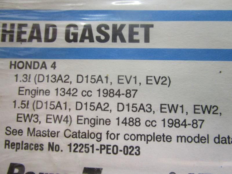 HONDA 4 HEAD GASKET, FEL-PRO, 10079, 1.3L ENGINE 1342 CC 1984-87 ; 1.5L ENGINE