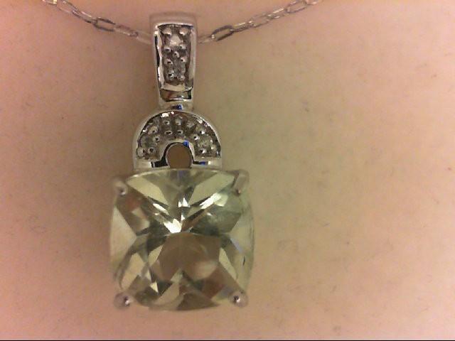 Synthetic Green Stone Silver-Diamond & Stone Pendant 5 Diamonds 0.05 Carat T.W.