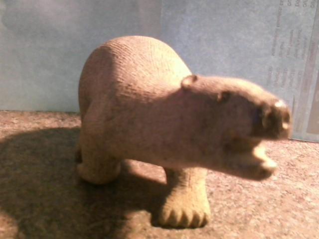 STONE POLAR BEAR CARVING