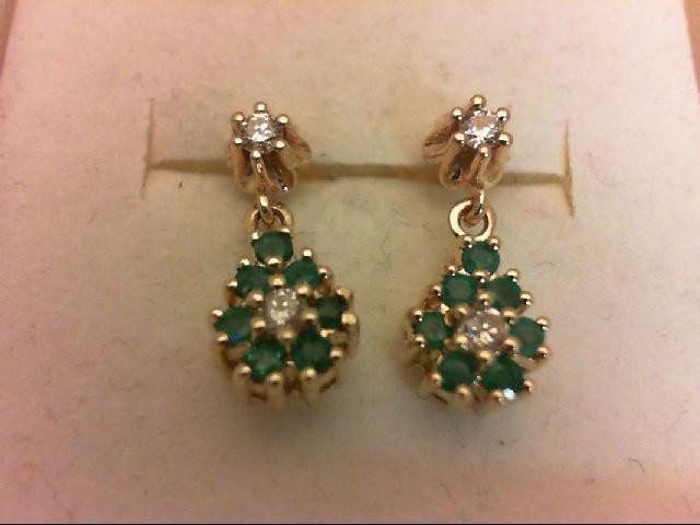 Emerald Gold-Diamond & Stone Earrings 4 Diamonds 0.18 Carat T.W. 14K Yellow Gold