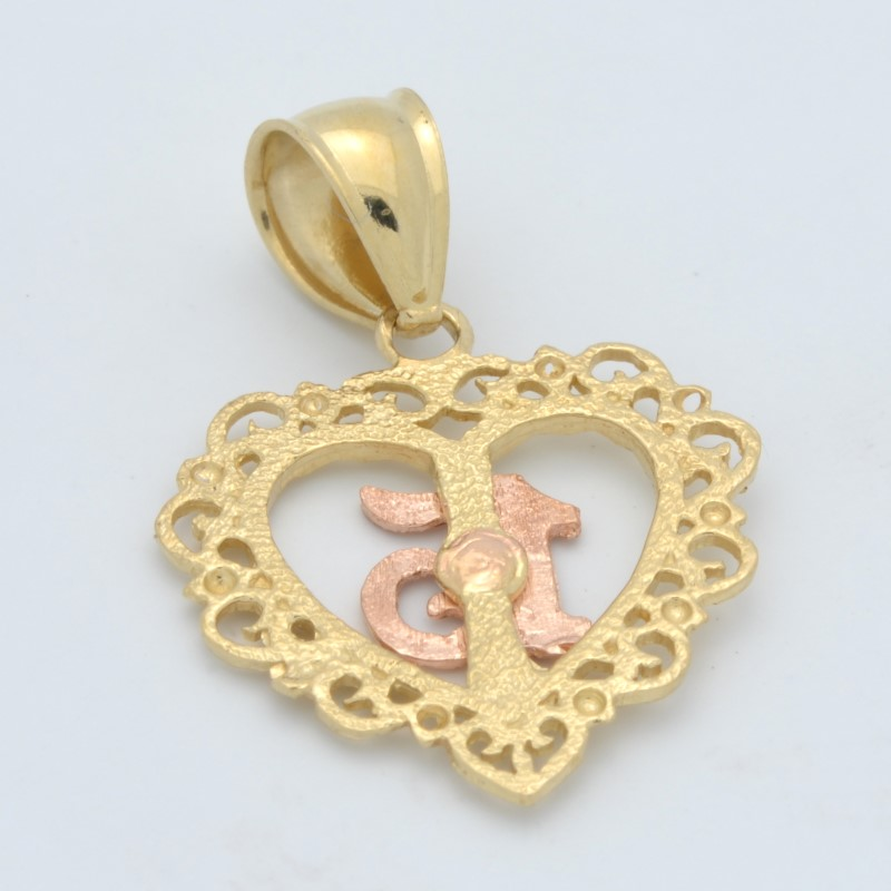 ESTATE 15 HEART PENDANT CHARM SOLID 14K GOLD LOVE YELLOW ROSE FINE