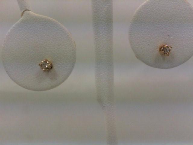 Gold-Diamond Earrings 2 Diamonds 0.06 Carat T.W. 14K Yellow Gold 0.05g