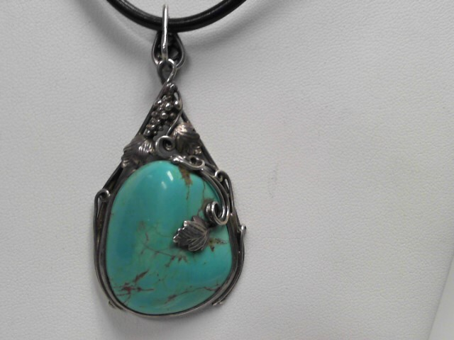 Turquoise Stone Necklace 925 Silver 27.3g