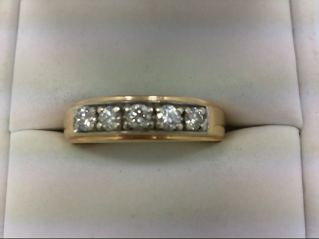 Gent's Gold-Diamond Wedding Band 5 Diamonds 0.6 Carat T.W. 14K Yellow Gold 7g