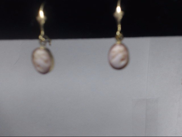 Synthetic Cameo Gold-Stone Earrings 14K Yellow Gold 1.17g