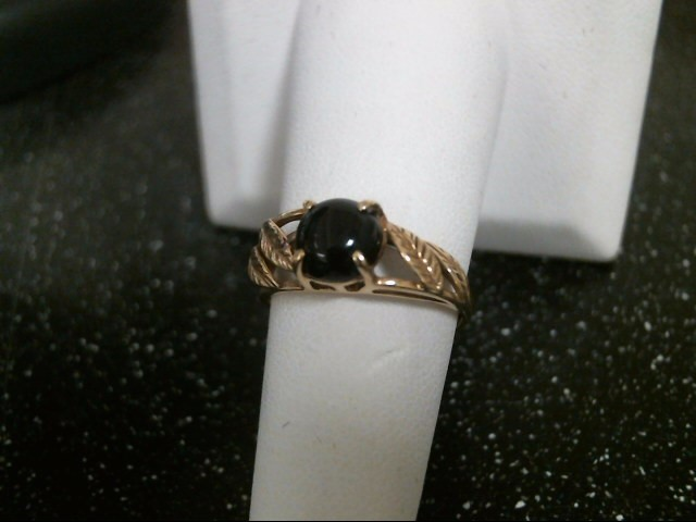 Black Stone Lady's Stone Ring 14K Yellow Gold 2.4g Size:7