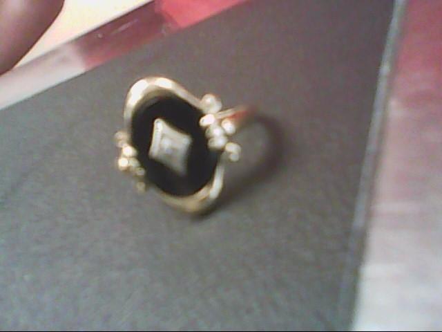 Synthetic Onyx Lady's Stone & Diamond Ring .01 CT. 10K Yellow Gold 2.7g