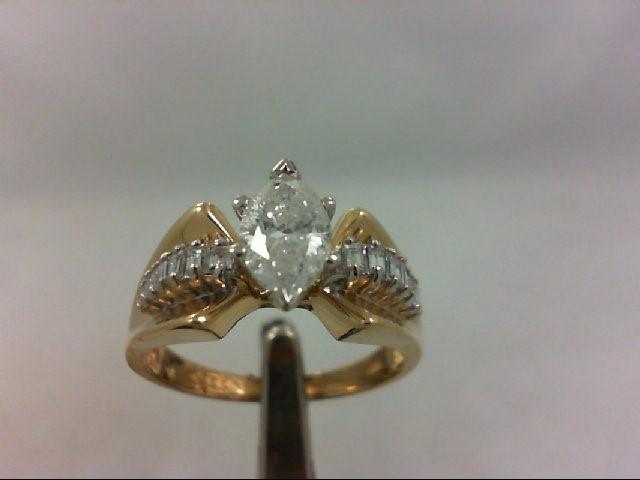 Lady's Diamond Engagement Ring 15 Diamonds .99 Carat T.W. 14K Yellow Gold 4.79g