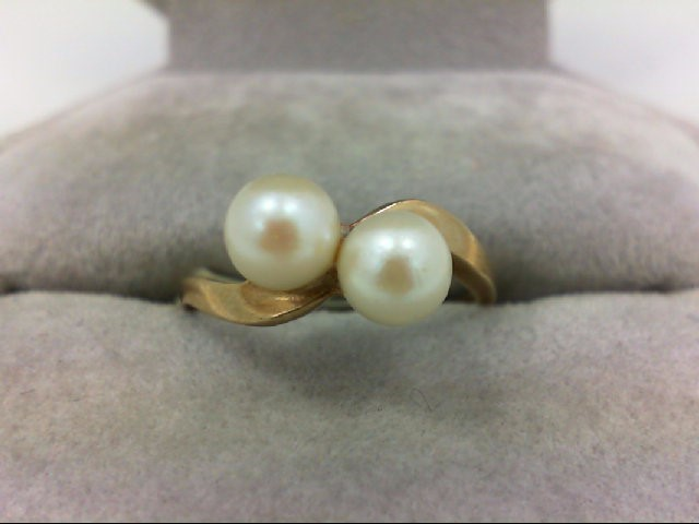 Pearl Lady's Stone Ring 10K Yellow Gold 1.9g Size:6