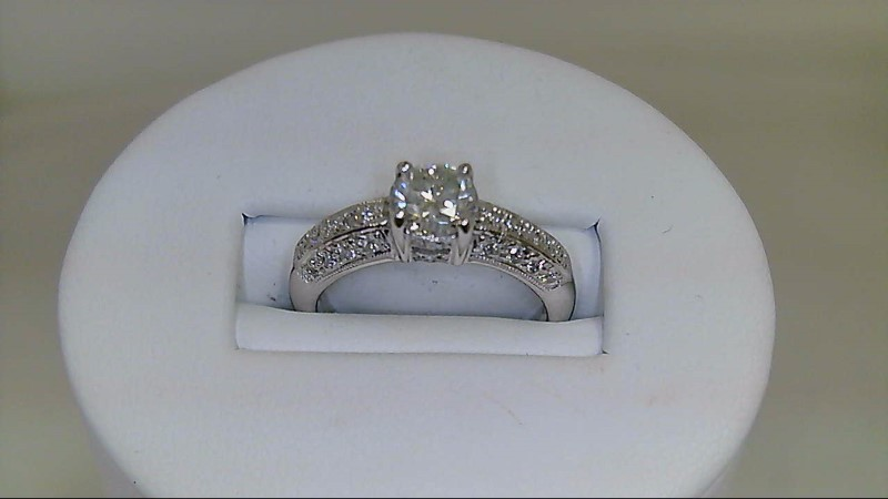 Lady's Diamond Engagement Ring 35 Diamonds 1.09 Carat T.W. 18K White Gold 5.2g