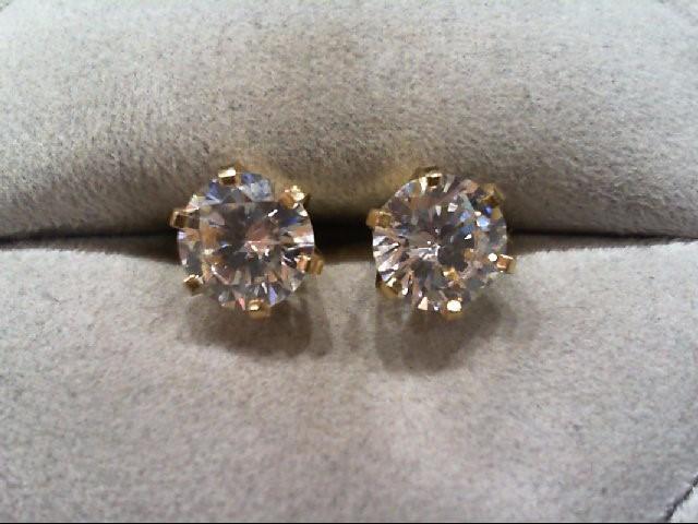 Cubic Zirconia Gold-Stone Earrings 14K Yellow Gold 2.7g
