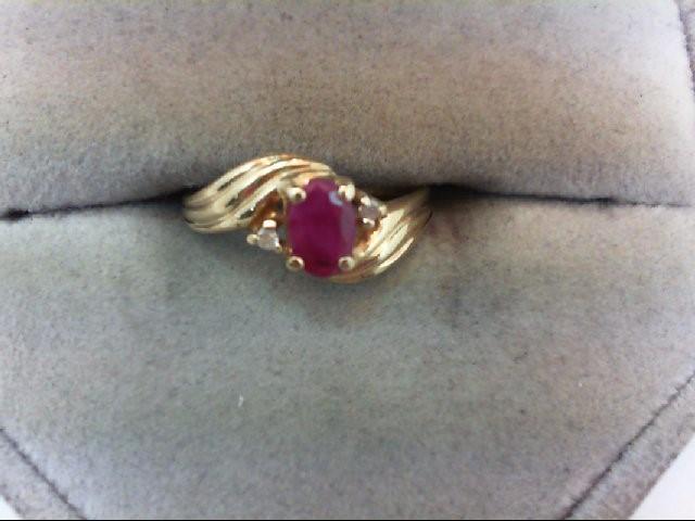 Ruby Lady's Stone & Diamond Ring 2 Diamonds .02 Carat T.W. 10K Yellow Gold 1.4g