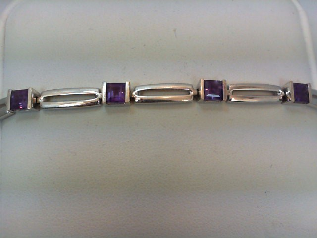 Amethyst Gold-Stone Bracelet 14K White Gold 13g