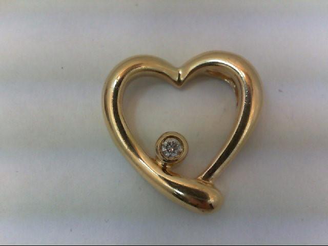 Gold-Diamond Solitaire Pendant .06 CT. 14K Yellow Gold 2.3g