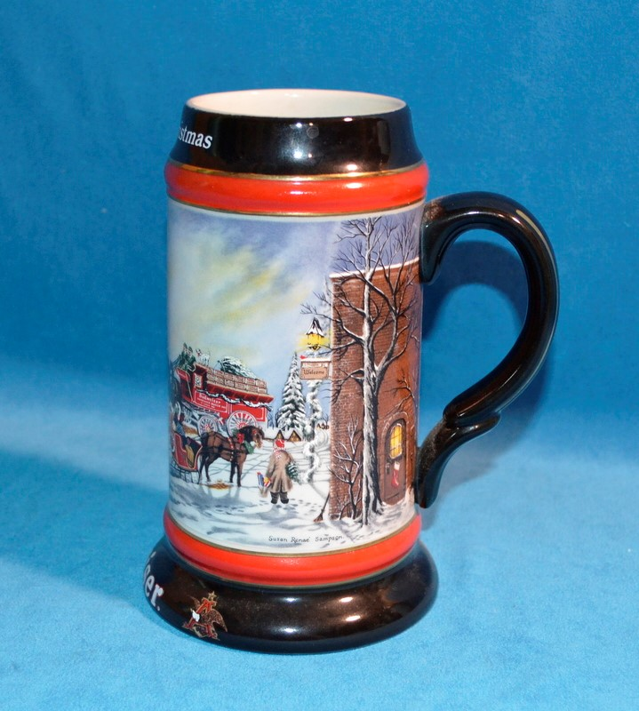 """1992 BUDWEISER HOLIDAY BEER STEIN COLLECTOR'S SERIES """"A PERFECT CHRISTMAS"""""""