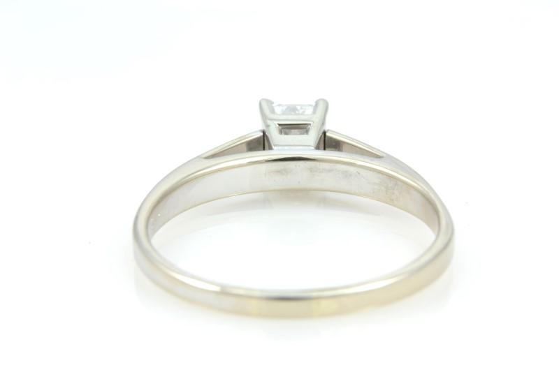 ESTATE DIAMOND RING SOLID 14K WHITE GOLD ENGAGEMENT PRINCESS SZ 8.25