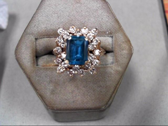 Blue Stone Lady's Stone & Diamond Ring 24 Diamonds .96 Carat T.W.