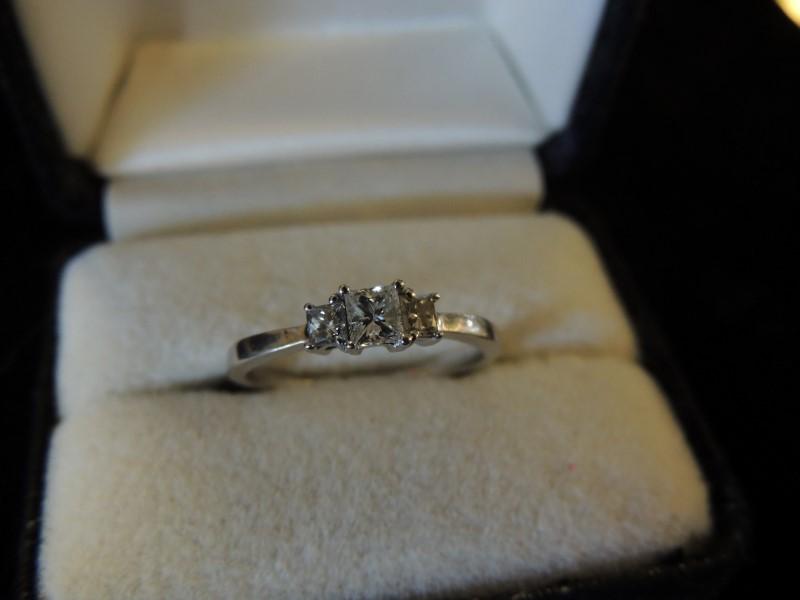 Lady's Diamond Solitaire Ring 3 Diamonds .34 Carat T.W. 14K White Gold 2.2g