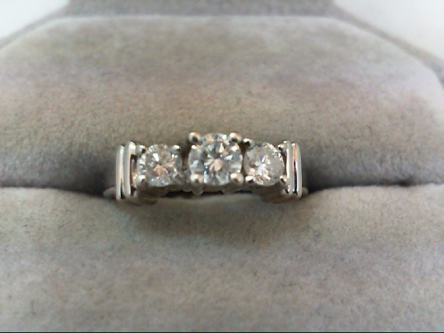 Lady's Gold-Diamond Anniversary Ring 3 Diamonds .45 Carat T.W. 14K White Gold