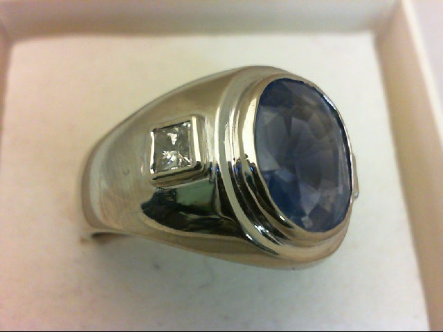 Sapphire Gent's Stone & Diamond Ring 2 Diamonds 0.5 Carat T.W. 14K White Gold 8.