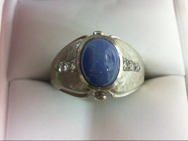 Synthetic Star Sapphire Gent's Stone & Diamond Ring 6 Diamonds 0.08 Carat T.W. 1