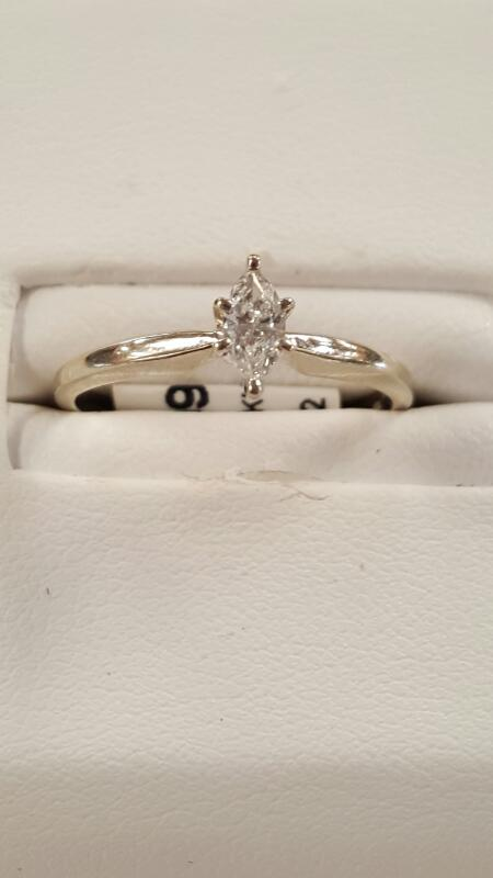 Lady's Diamond Solitaire Ring .20 CT. 10K White Gold 1.1dwt