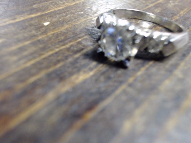 Lady's Diamond Engagement Ring 3 Diamonds .85 Carat T.W. 14K White Gold 3.4g