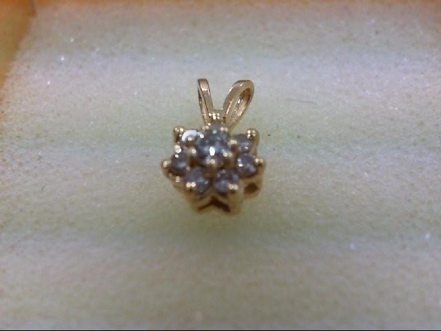 Gold-Multi-Diamond Pendant 8 Diamonds 0.17 Carat T.W. 14K Yellow Gold 0.6g