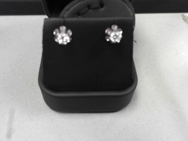 Gold-Diamond Earrings 2 Diamonds .46 Carat T.W. 14K White Gold 1.91g