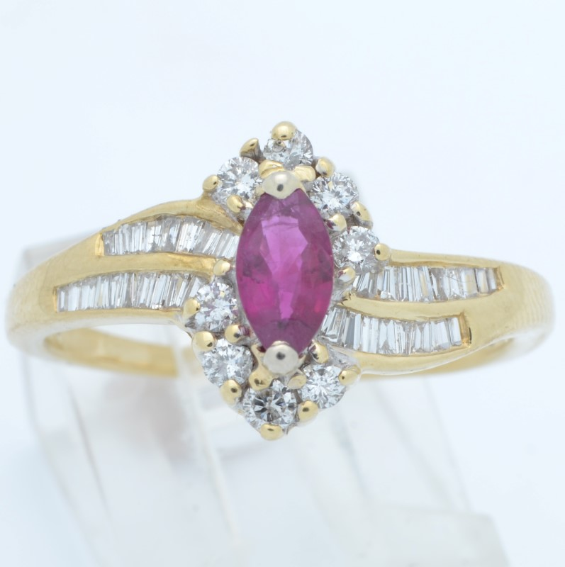 ESTATE RUBY RED DIAMOND RING SOLID 14K GOLD MARQUISE COCKTAIL SIZE 9