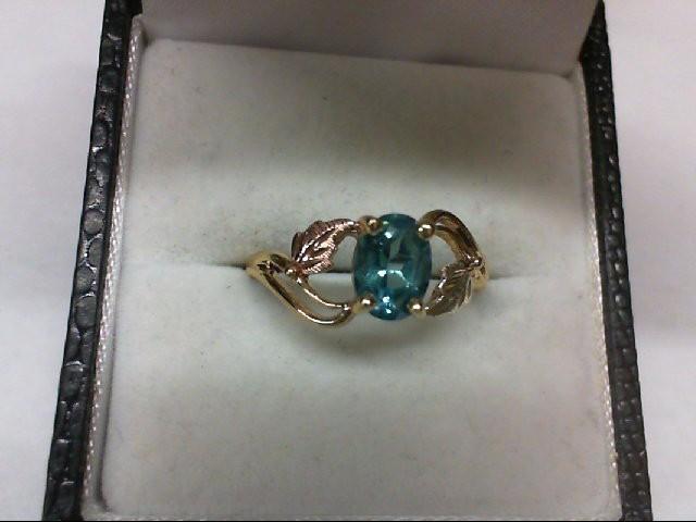 Blue Topaz Lady's Stone Ring 10K Tri-color Gold 1.8g