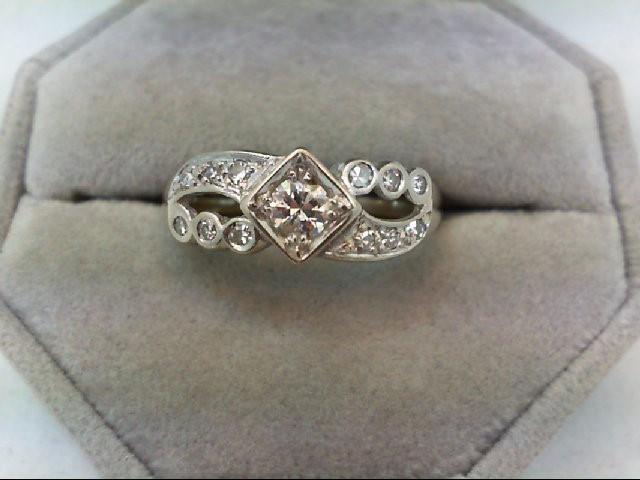 Lady's Diamond Wedding Band 13 Diamonds 0.61 Carat T.W. 14K White Gold 4.6g
