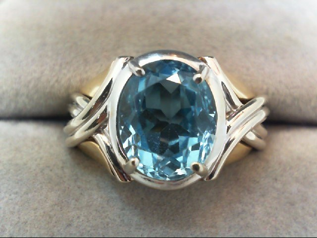 Blue Topaz Lady's Stone Ring 14K 2 Tone Gold 5.8g