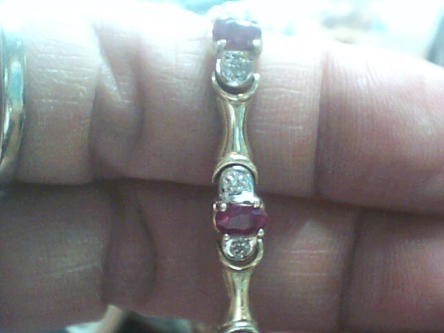 Red ruby Gold-Diamond & Stone Bracelet 22 Diamonds .132 Carat T.W.
