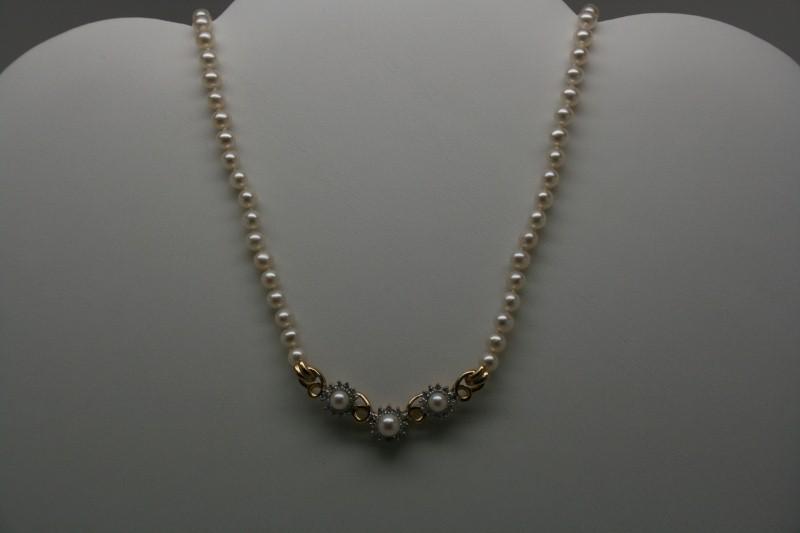 DIAMOND PEARL NECKLACE 14K YG