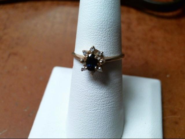 10K YG 1.5G SAPPHIRE DIAMOND RING
