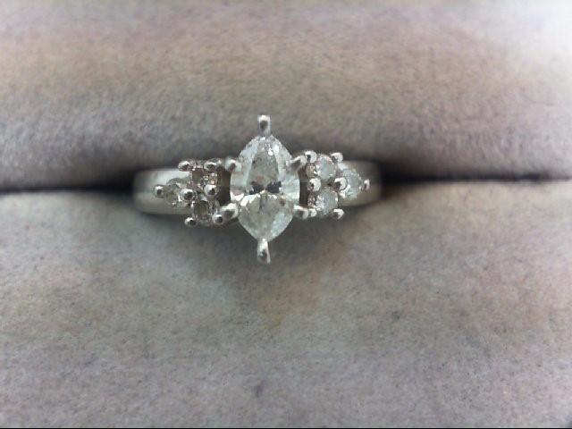 Lady's Diamond Engagement Ring 7 Diamonds .53 Carat T.W. 14K White Gold 4g