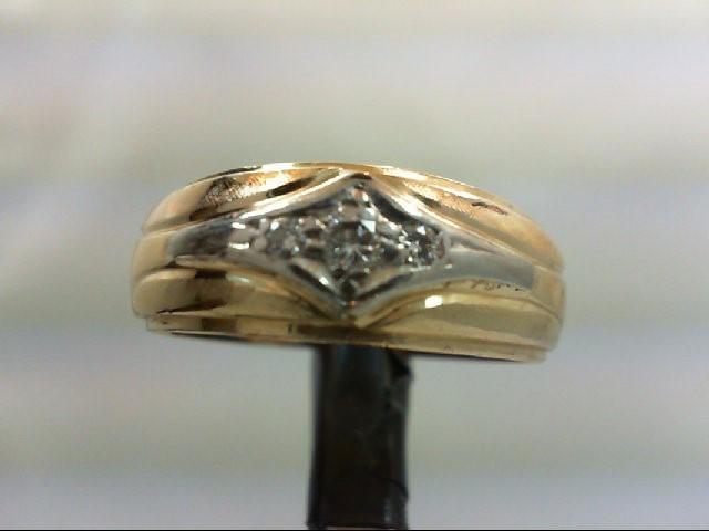 Gent's Gold-Diamond Wedding Band 3 Diamonds 0.25 Carat T.W. 14K 2 Tone Gold 6.1g