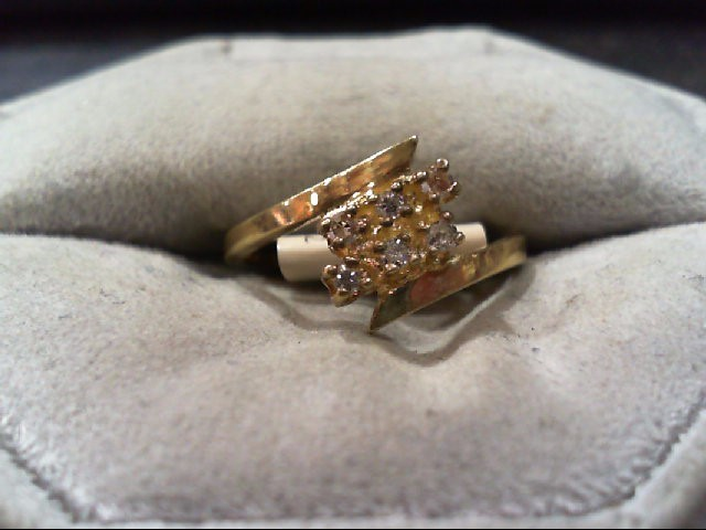 Lady's Diamond Cluster Ring 6 Diamonds .12 Carat T.W. 14K Yellow Gold 1.8g
