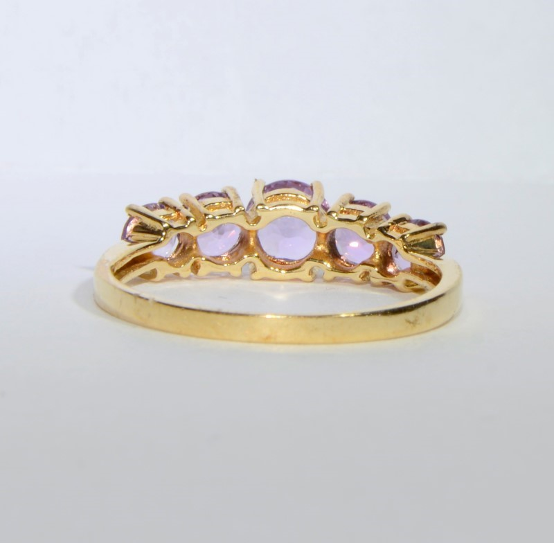 10K Yellow Gold Vintage Inspired Round Amethyst Ring Band Size 7