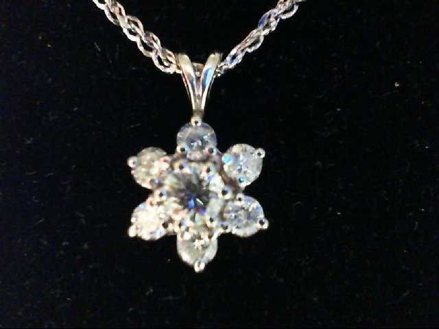 Gold-Multi-Diamond Pendant 6 Diamonds 0.36 Carat T.W. 14K White Gold 3.5g