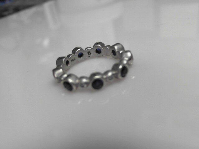 Sapphire & Gold Wedding Band 18K White Gold 5.36g Size:6 1/4