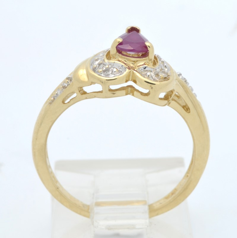 ESTATE RUBY RED DIAMOND HEART RING SOLID 14K GOLD PEAR CUT SIZE 6