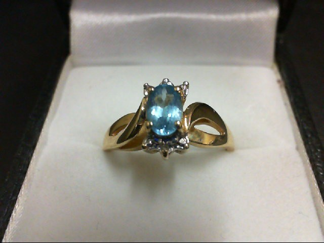 Synthetic Blue Topaz Lady's Stone Ring 10K Yellow Gold 2.3g