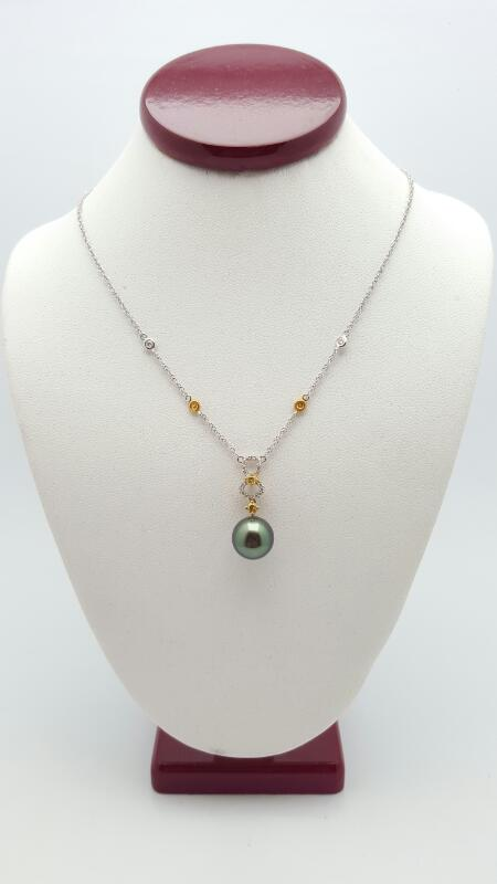 Pearl Diamond & Stone Necklace 24 Diamonds .29 Carat T.W. 18K 2 Tone Gold 4.4g